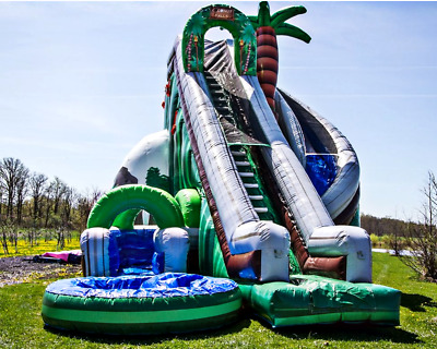 25x15x20 Commercial Inflatable Jungle Curved Water Slide Wet Bounce House Castle Ebay