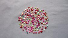 25 - PLASTIC PEARL FLATBACKS - HEARTS - ASSORTED COLORS  - NEW!!