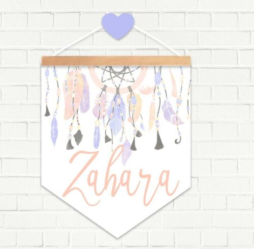 HANGING PENDANT NAME FLAG PRINT Nursery Decor Personalised Pastel Dream Catcher