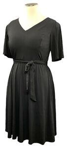 CHARTER-CLUB-1X-black-stretch-knit-short-sleeve-V-neck-belted-dress