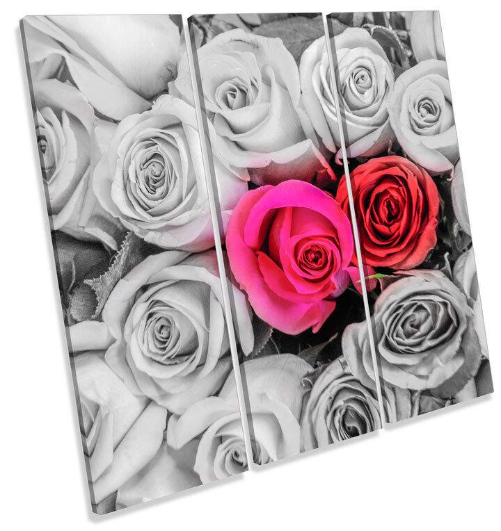 Rosas Flores Floral arte Amor agudos LONA pared arte Floral Foto impresión Cuadrado 130b7f