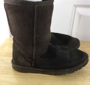 33a5cae67ef Details about Ugg Boots Size 6 Women's Brown 5825 Leather Wool Lined