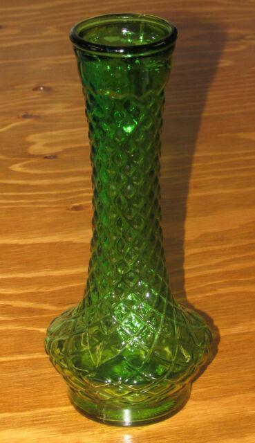 Randall Vintage Green Glass Flower Bud Vase Quilted Diamond Pattern