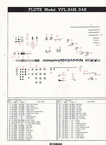 Details About 1980 Yamaha Musical Instrument Parts List Ad Sheet Flute Model Yfl 24n 24s