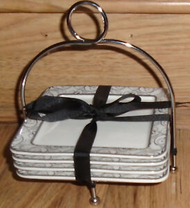 Ciroa-Set-of-4-Square-Appetizer-Plates-in-Wire-Stand-Wrapped-in-Ribbon
