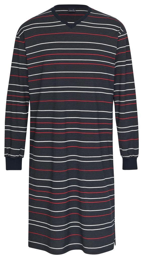 AMMANN Herren Marken Nachthemd Langarm Gr. 50 dunkelblau Streifen V-Ausschnitt