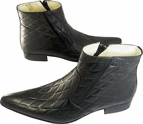 Chelsy Chelsy Chelsy – Italienische Designer Stiefelette Echtleder Karomuster schwarz 45 c7d213