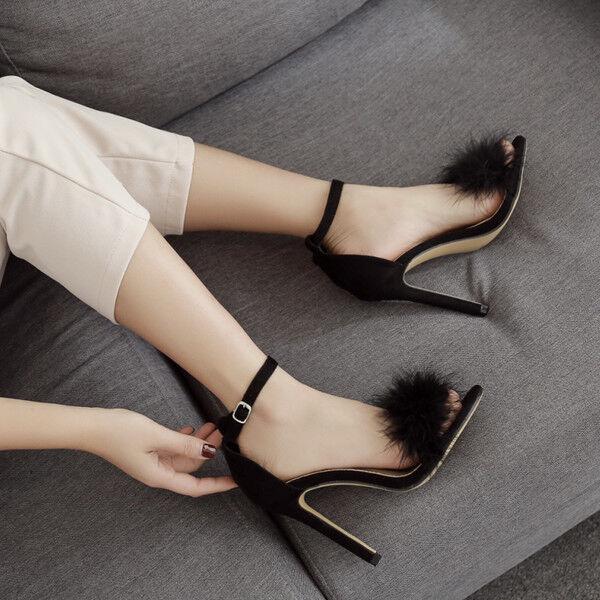 Sandalei eleganti tacco stiletto 12 12 12 simil cm nero pelo simil 12 pelle 819ee2