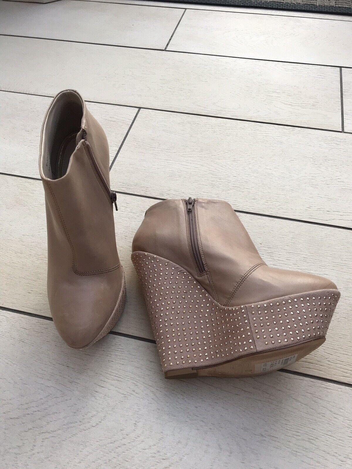 TOPSHOP PREMIUM Leather Nude Zip Up High Platform Stud Heel Ankle Boots 7