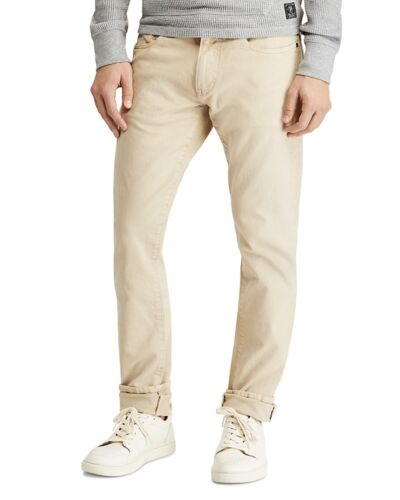 New Mens Khaki POLO Ralph Lauren Hampton Straight Stretch Jeans Anderson Sand