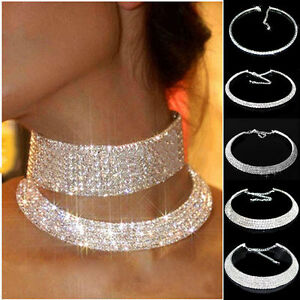 Crystal-Diamond-Rhinestone-Necklace-Choker-Silver-Wedding-Party-Chain-Hot-Cool