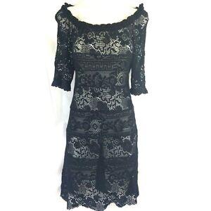 Isabel-Marant-Etoile-Romeo-Black-Crochet-Lace-Dress-Size-38-UK-8-10-US-4-6