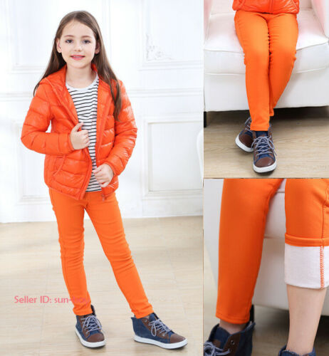 Kids Girls Casual Warm Leggings Fleece Lined Pencil Pant Stretch Thermal Trouser