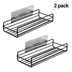 Kitchen-Bathroom-Shower-Shelf-Storage-Suction-Basket-Caddy-Rack-Black-Iron-New