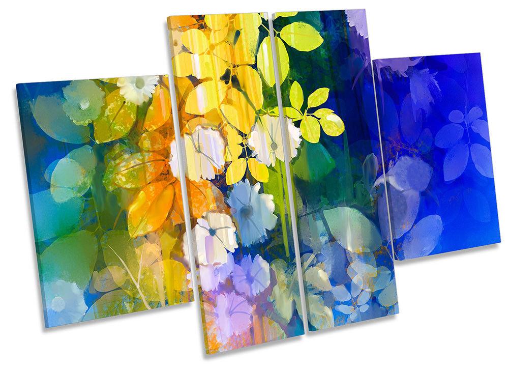 Flores Azul Amarillo Floral Lona Pared Arte panel de de cuatro obras de de arte f79f9b