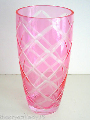 "Bohemian/czech Just A Beautiful Pink 'glass' 8 1/2"" Vase"