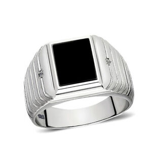 39ff4e06d55 Image is loading Real-925-Solid-Sterling-Silver-Black-Rectangle-Onyx-
