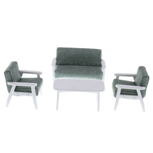 MagiDeal 1//12 Dollhouse Living Room Sofa Couch w Cushion Set /& End Table