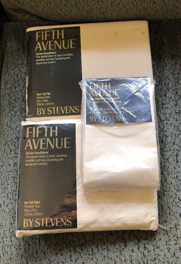Vtg Stevens Fifth Avenue Bone Full Größe Sheet Set Neu