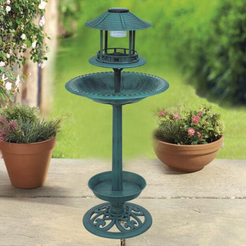Solar Powered Light Bird Bath Garden Outdoor Feeding Station Planter Ornament