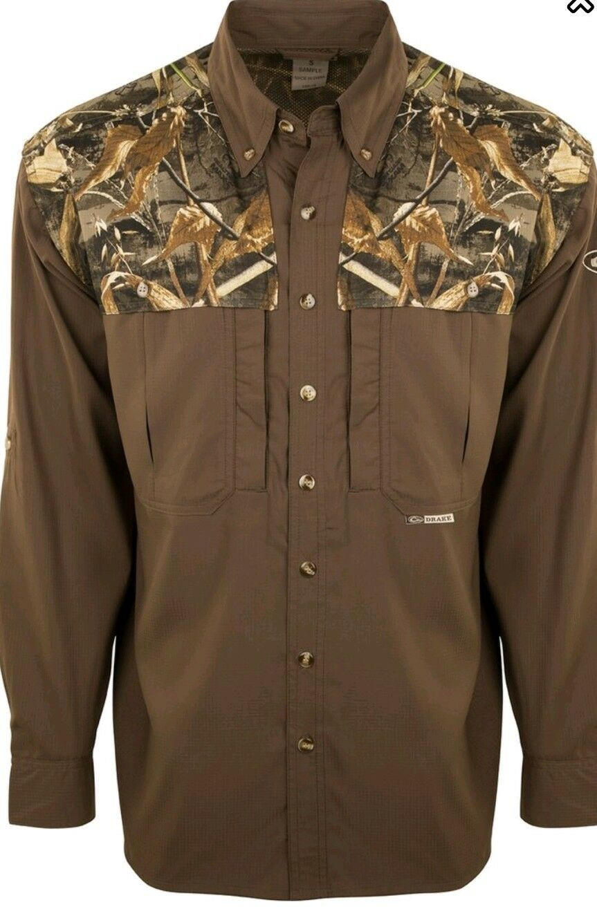 DRAKE Waterfowl Systems Camo 2 tone L S WINGSHOOTER'S Shirt Realtree Max 5 LARGE