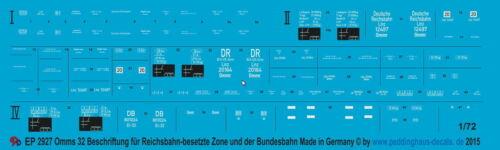 1//72 ep 2927 Omms 32 Beschriftung für Reichsbahn und besetzte Zonen