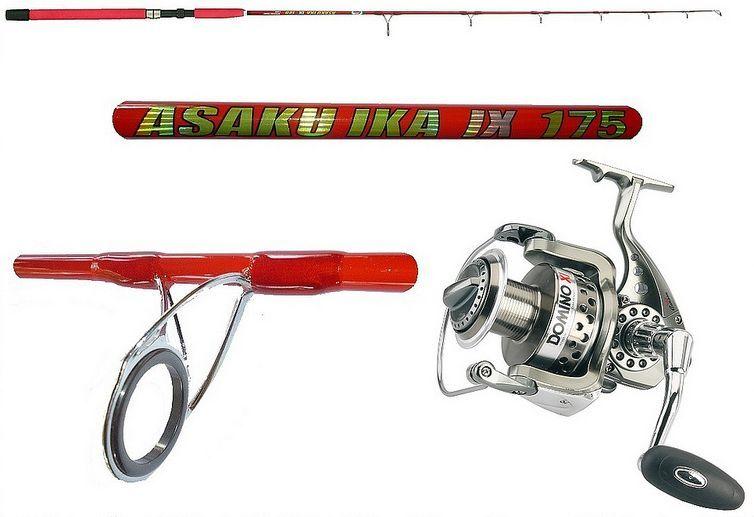Combo canna asaku ika 150gr  mulinello domino pesca verdeical jigging dentice