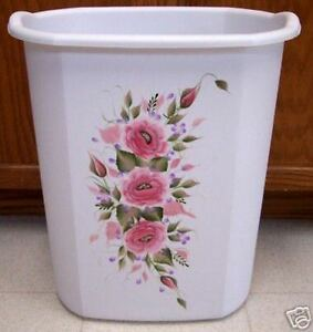 Hand painted roses shabby to chic waste paper basket - Shabby chic wastebasket ...
