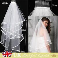 New 2T White or Ivory Wedding Bridal Veil With Satin Edge Comb Elbow Elegant UK