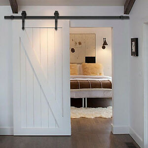 New 6 ft black modern antique style sliding barn wood door for One day doors and closets reviews