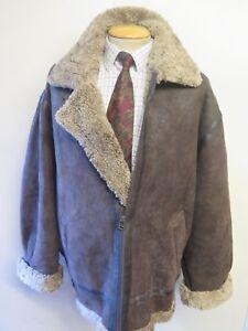 Vintage-B3-Real-Shearling-Sheepskin-Bomber-Aviator-Leather-Jacket-XL-48-034-Euro-58