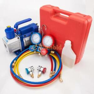 3-CFM-1-4HP-Air-Vacuum-Pump-HVAC-Refrigeration-AC-Manifold-Gauge-R22-R134a-Kit