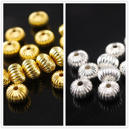 50Pcs 8mm Alloy Pumpkin Rondelle Metal Charms Spacer Loose Beads Jewelry Making