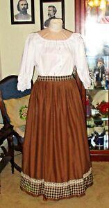 Details about CIVIL WAR DRESS~VICTORIAN STYLE-100% COTTON BROWN CAMP/WORK  SKIRT~PLUS SIZE