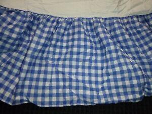 NEW Ralph Lauren QUEEN Bed Skirt Dust Ruffle Blue White Large Gingham Check