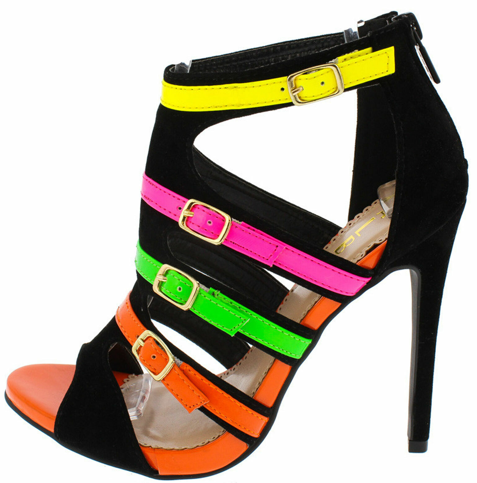 Multi-Colored Neon Strappy Buckled Peep Toe Stiletto Heel Sandals, US 6