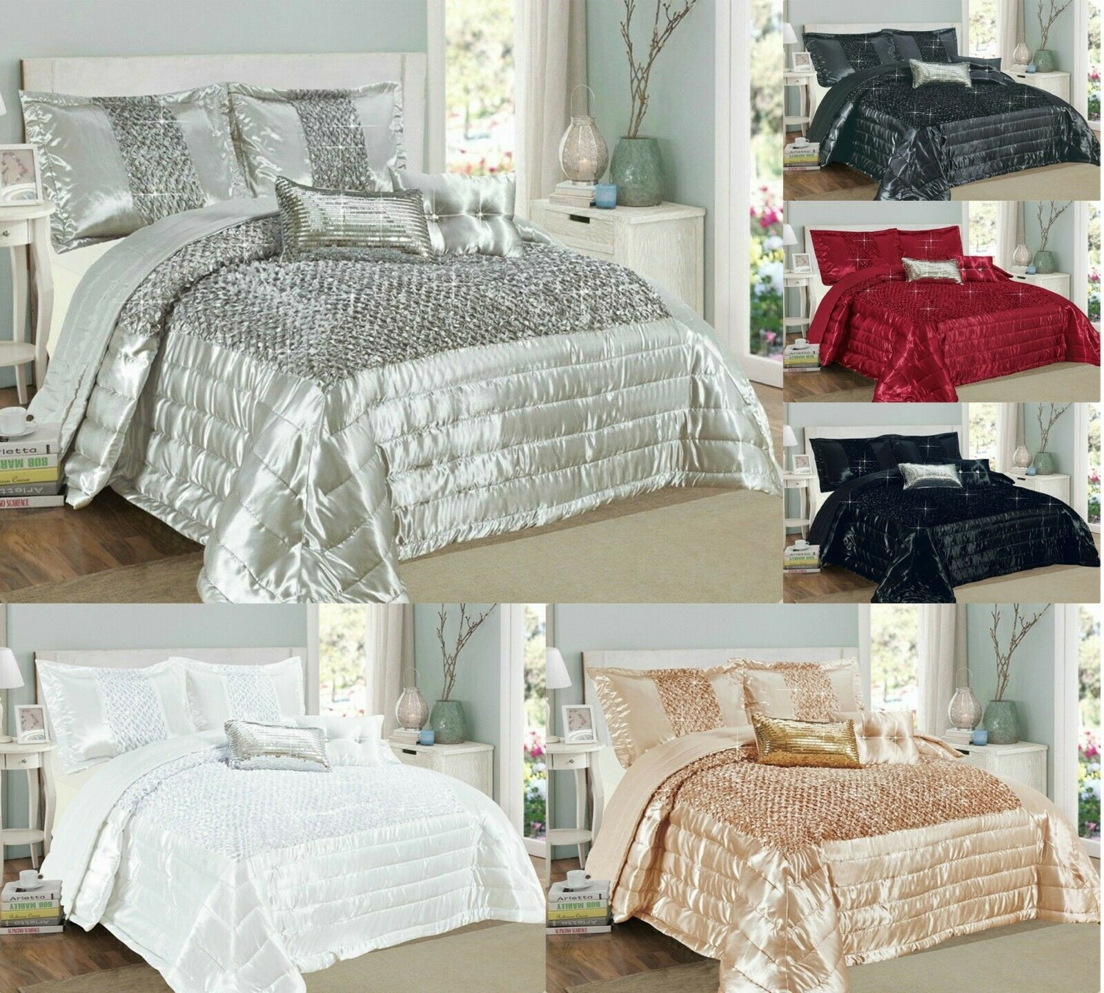 3 Pcs Bedspread Quilted Sequins With 2 Pillow Shams Double King Sup-King
