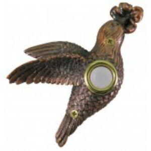 Lighted-Decorative-Doorbell-Bronze-Plated-Hummingbird-Doorbell