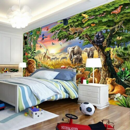 3D Jungle Safari Lion Éléphant Mural Papier Peint Enfant Chambre Nursery School