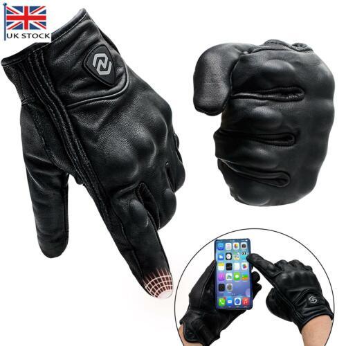 Men Genuine Real Leather Biker Motorcycle Gloves Touch Screen Waterproof Thermal