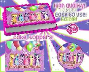 Image Is Loading 2 My Little Pony Birthday Cake Toppers Edible