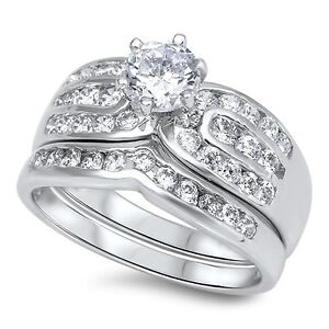 .925 Sterling Silver Round Cut Clear CZ Wedding Promise Ring Set Size 5-10 NEW