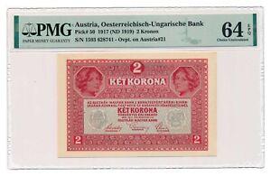 AUSTRIA banknote 2 Kronen 1919 PMG MS 64 EPQ Choice Uncirculated
