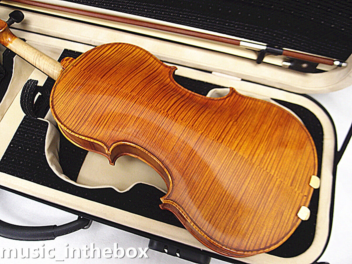 N226 Good Sound 4 4 Hand-Made High Flamed Back Violin+Bow Rosin+Square Case-N7