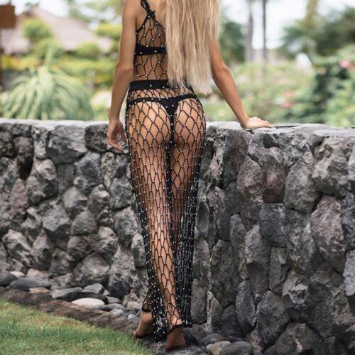 Cutout Women Crochet Beaded Fish Net Beach Cover Up Pants Long Trousers Wide Leg