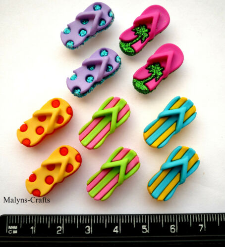 FLIP FLOPS Craft Buttons 1ST CLASS POST Sandal Beach Holiday Travel Novelty Sea