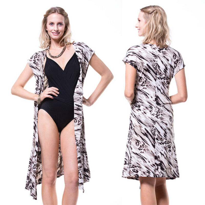 102 Miraclesuit Cap Sleeve Jersey Brown Print Cover Up Tie Front Dress M