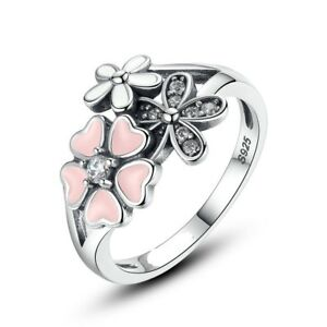 bbb94dd0f 925 silver sterling poetic bloom pink triple 3 daisy cz floral Ring+ ...