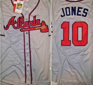 online store d5e4e 2225c Details about Retro Atlanta Braves Chipper Jones Throwback Gray Replica XXL  Baseball Jersey