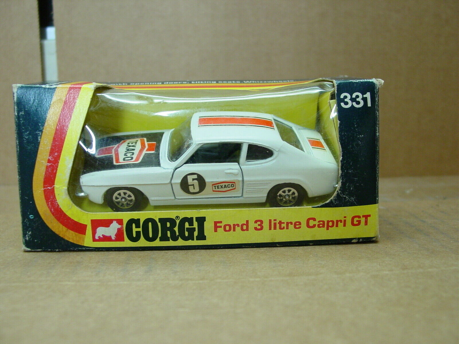 VINTAGE 1973 CORGI  331 FORD CAPRI GT 3 LITRE UNPLAYED WITH IN BOX
